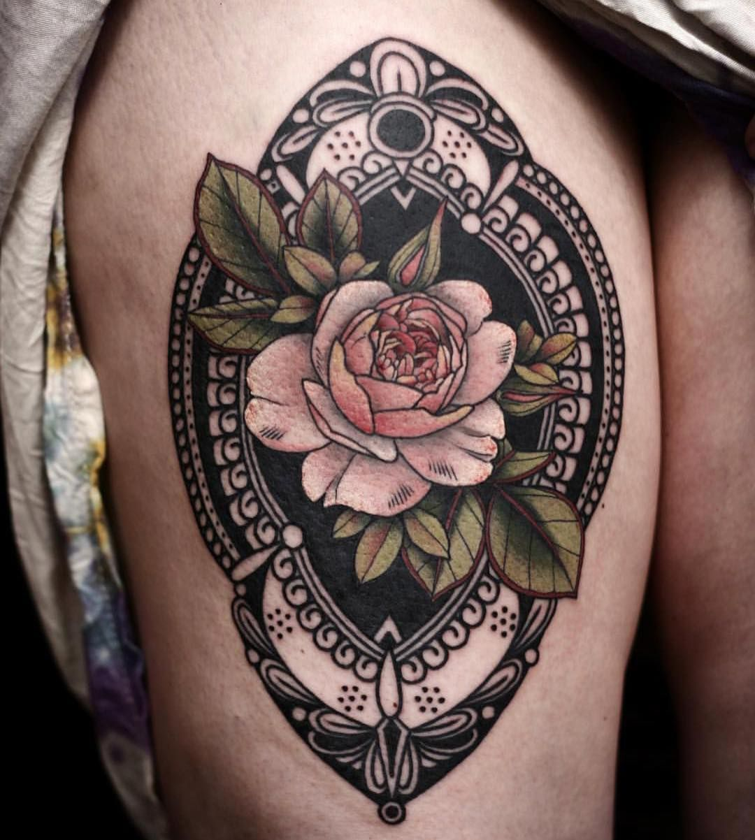 Rose in ornate frame by Kirsten Holliday onholliday