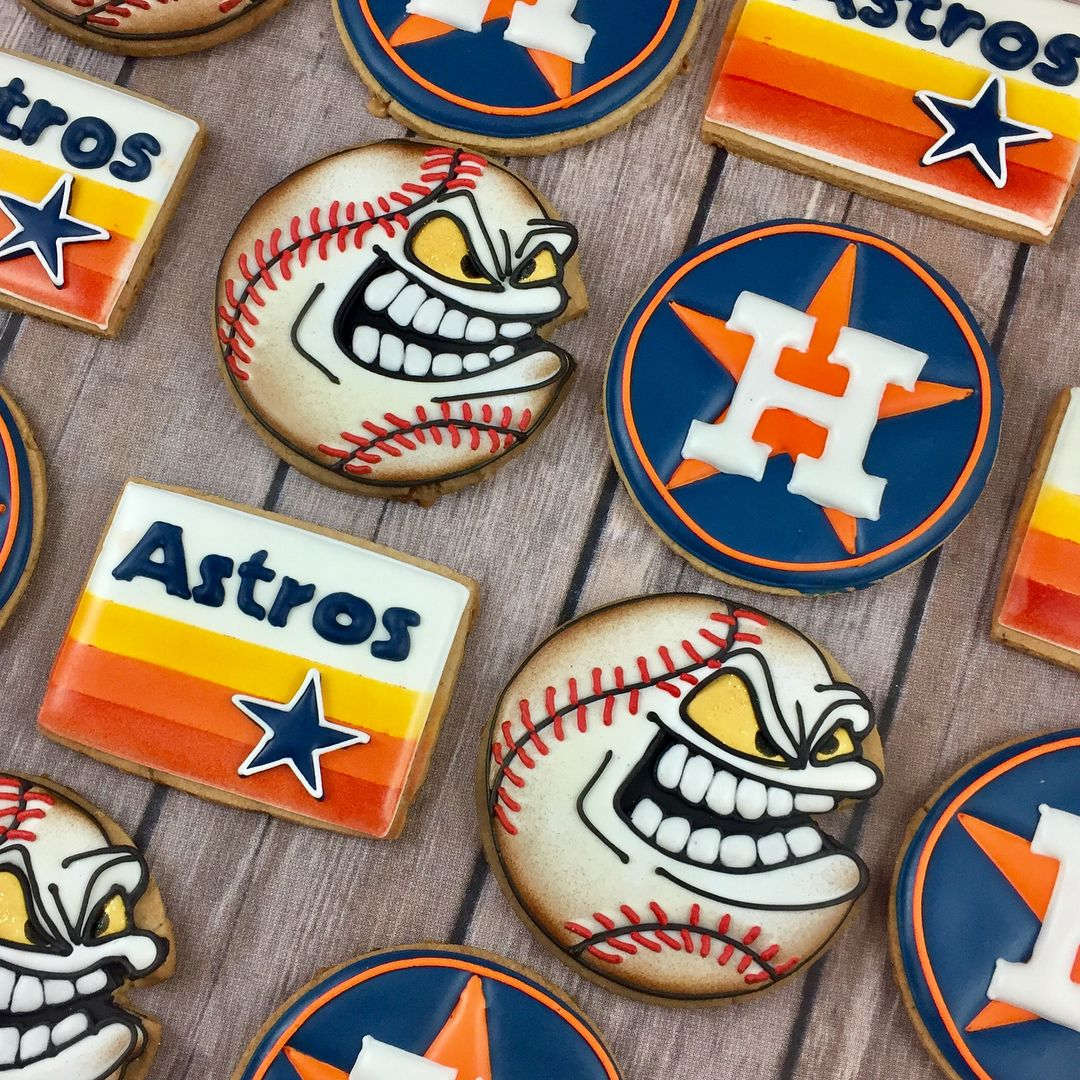 Houston Astros Old New Logo With Baseball Cookies Baseball Cookies Logo Cookies Cute Cookies
