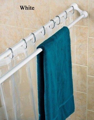 Polder Duo Shower Curtain Rod Towel Rack Genius Household