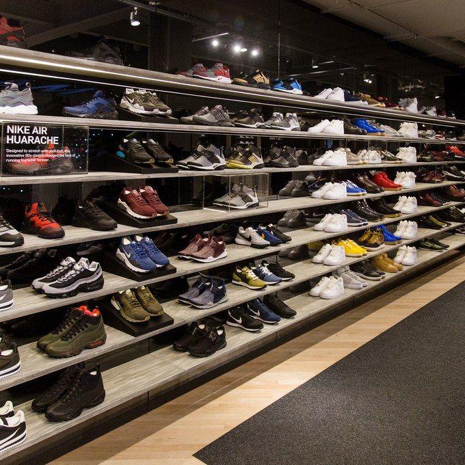 Sneakers   Shoe wall, Sneaker stores