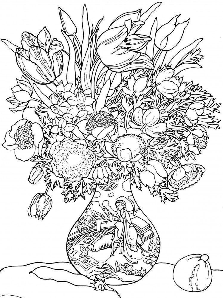 Floral vase colouring page pinterest for Different color roses bouquet