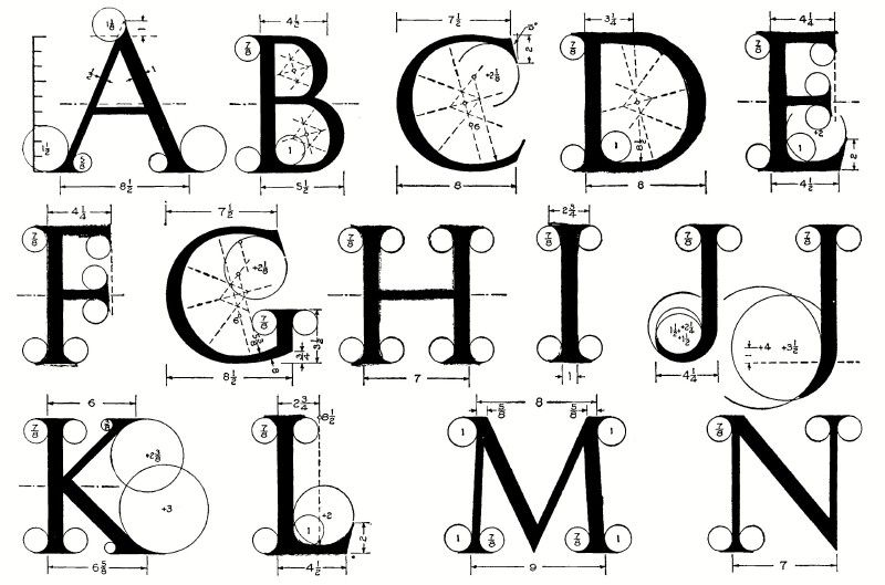 roman alphabet letters alphabet half with a method of geometrical 6350
