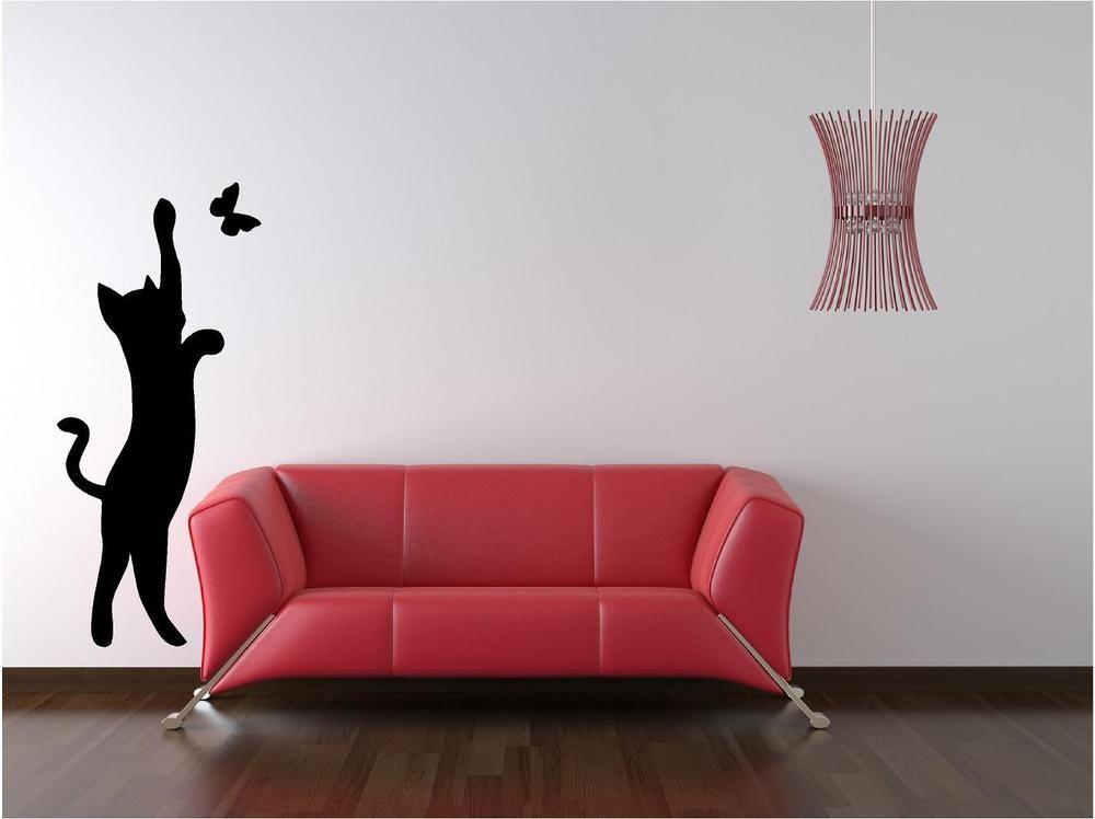 Cat Butterfly Custom Vinyl Wall Decals Stick On Wallart Wall - Custom vinyl wall decals cats