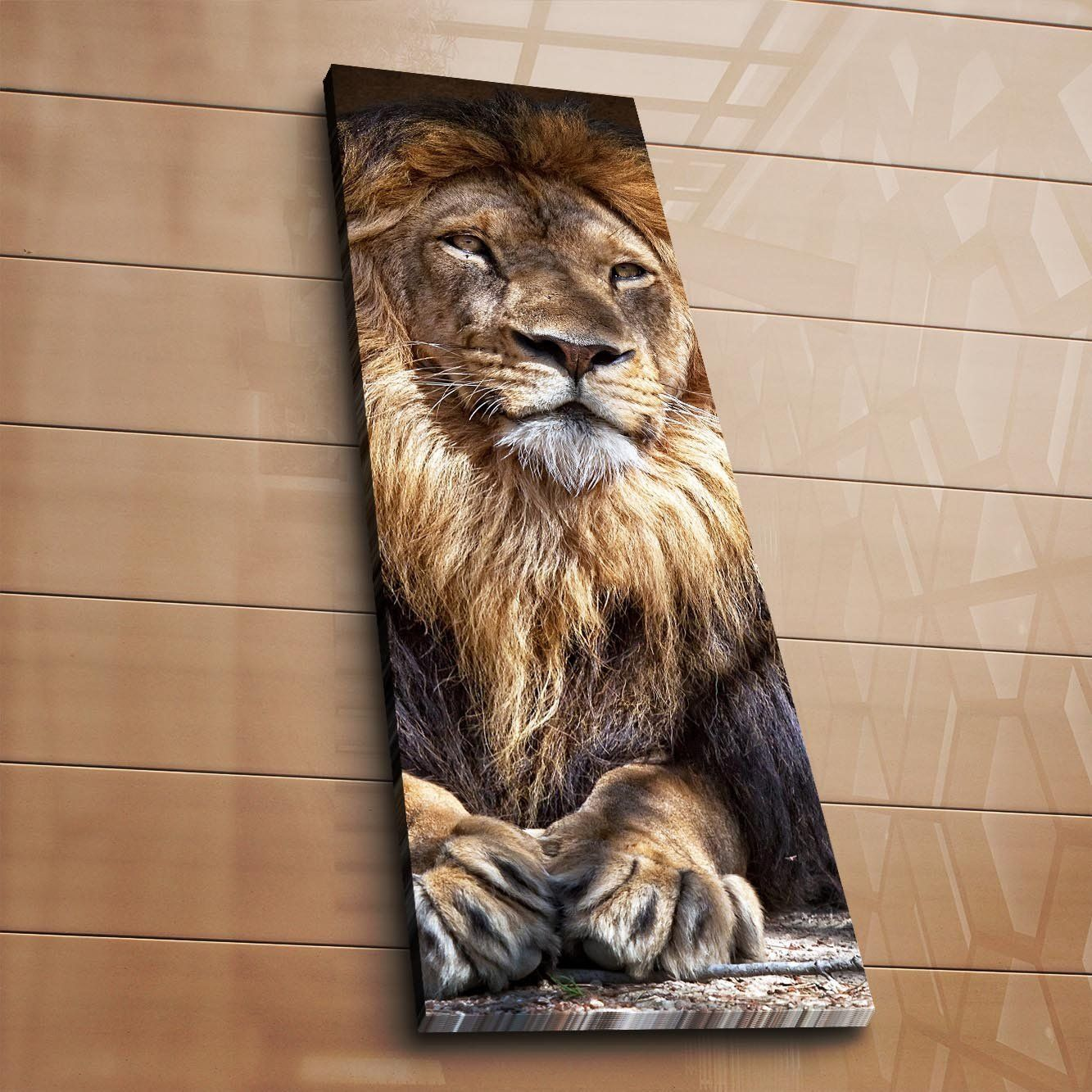 Lamodahome Decorative Canvas Wall Art 12 X 36 Wooden Thick Frame Painting Lion Animal King Royal Cat Natural Mane Animal Canvas Canvas Wall Art Painting Frames