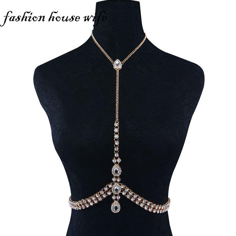 45b456f83f Fashion House Wife Sexy Bikini Bras Chain Crystal Water Drop Chest ...