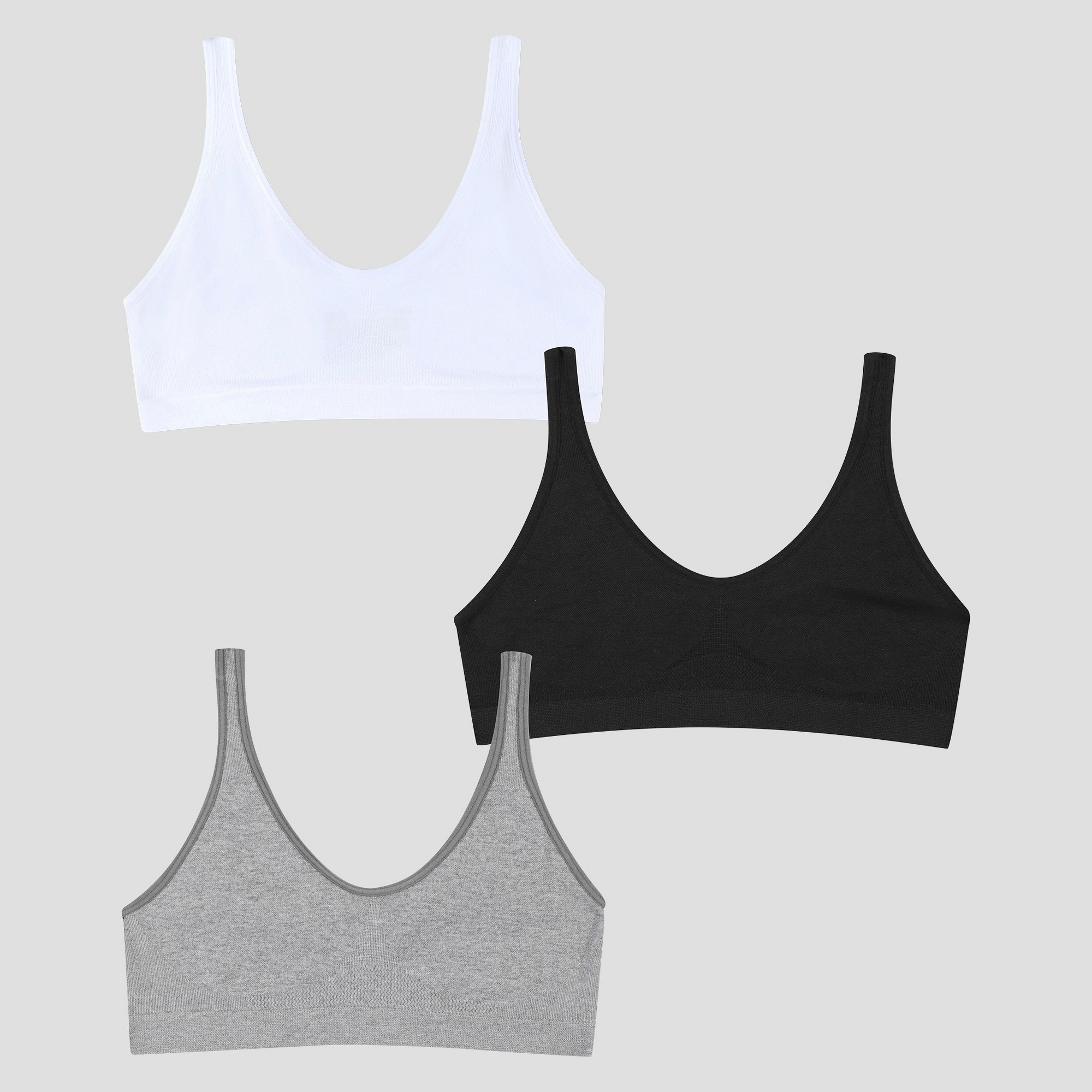 ef115d77c4787 Hanes Girls' 2+1 Bonus Pack Get Cozy Seamless Pullover Bra - White/Black/ Gray M