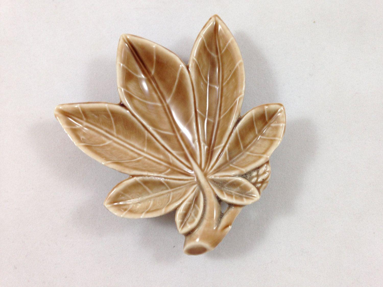 Wade Pottery Trinket Dish   Vintage Porcelain Brown Leaf Dish   Wade  Porcelain Made In Ireland