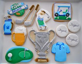 Golf Cookies By Oh Sugar Blue Golf Shirt Green Yellow Beer Golf