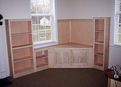 Custom Made Corner Media Center And Cabinets Wood