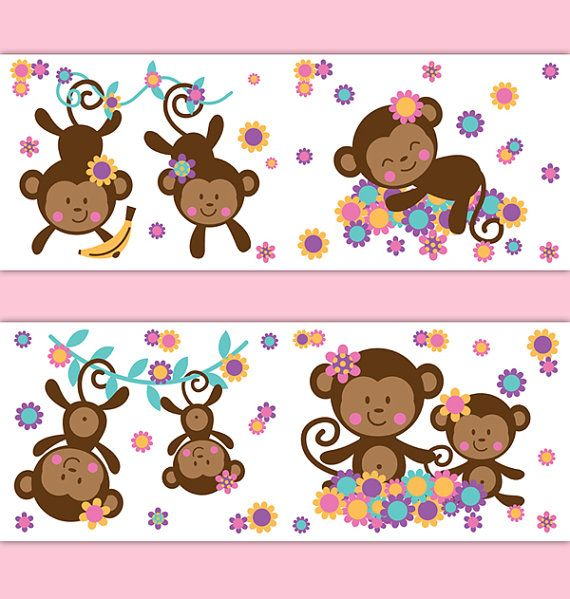 MONKEY WALLPAPER BORDER Decals Girl Safari Animal Nursery ...