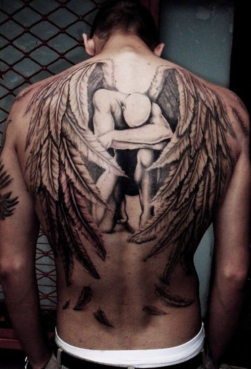 0026837ca Kneeling Angel Back Tattoo. I think wings are too cliche, but you have to  appreciate the talent of this artist