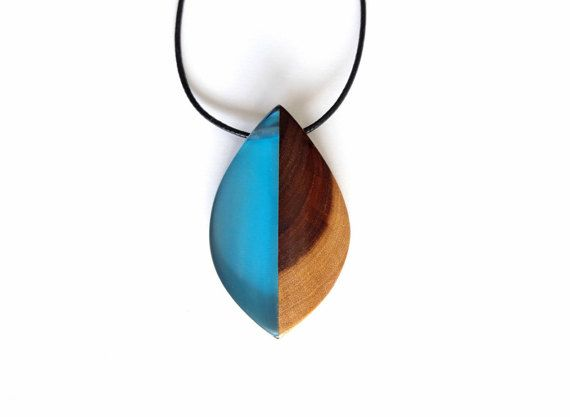Blue resin and exotic wood pendant necklace handmade jewelry by blue resin and exotic wood pendant necklace handmade jewelry by woodallgood woodallgood mozeypictures Images