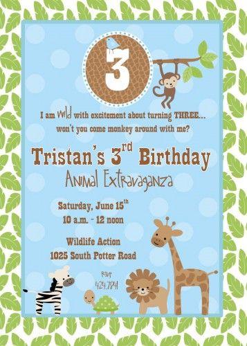 Zoo Wildlife Themed Birthday Party Invitation