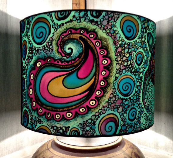 Psychedelic design multi coloured hand silk painted lamp shade turtle paisley spiral design hand silk painted lamp shade 30cm diameter drum made to order aloadofball Choice Image