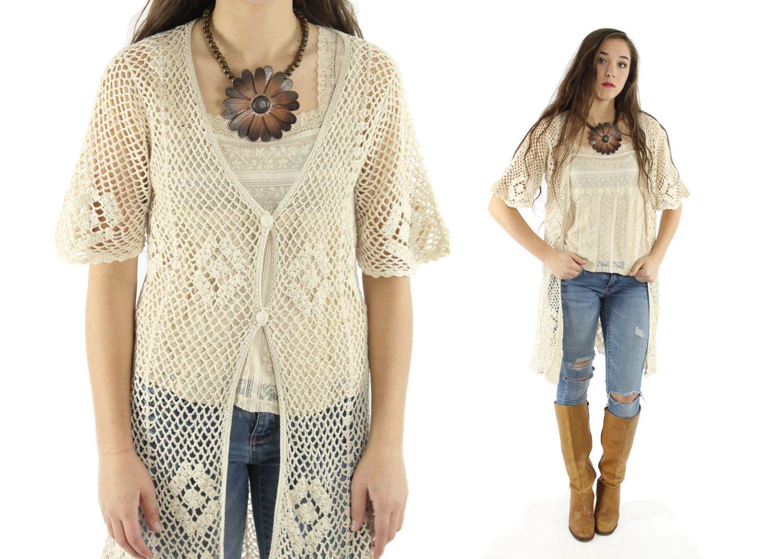 Vintage 90s Crochet Cardigan Sweater Short Sleeve Open Knit ...