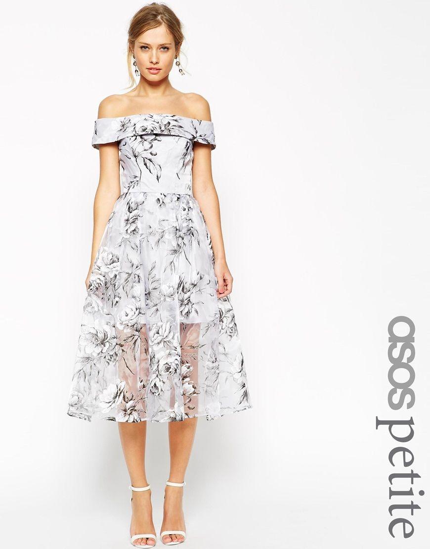ASOS SALON Midi Dress In Floral Organza