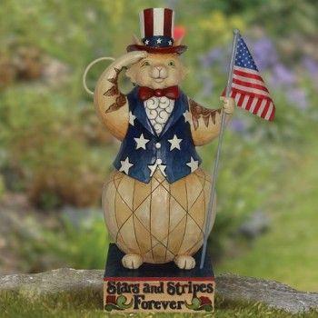 Patriotic Cat Garden Statue
