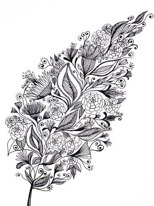 Раскраски антистресс распечатать - цветы, растения ...