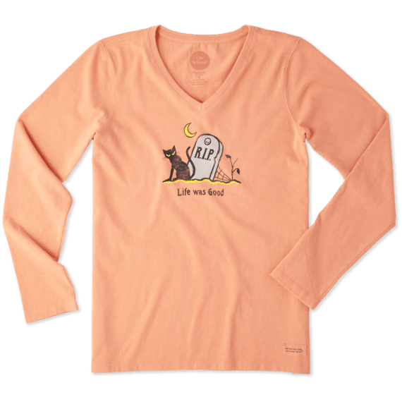 a4577c13f12 Shop Women s Life Was Good Cat Long Sleeve Crusher Vee s at the official  Life is Good® store. Get free shipping on orders over  49.