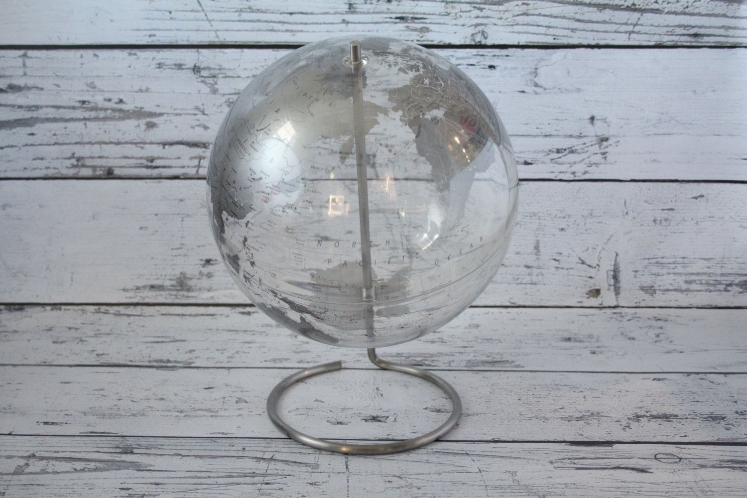 Vintage replogle clear globe crystal marquise transparent silver vintage replogle clear globe crystal marquise transparent silver world map acrylic plastic earth stainless steel metal gumiabroncs Images
