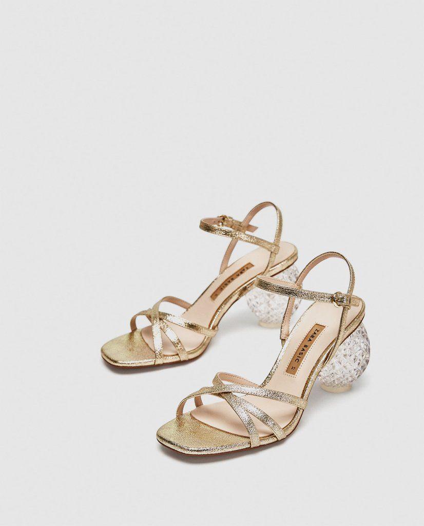 Zara Block Heel Sandals Gold High Heel Sandals Kitten Heels Outfit Sandals Heels