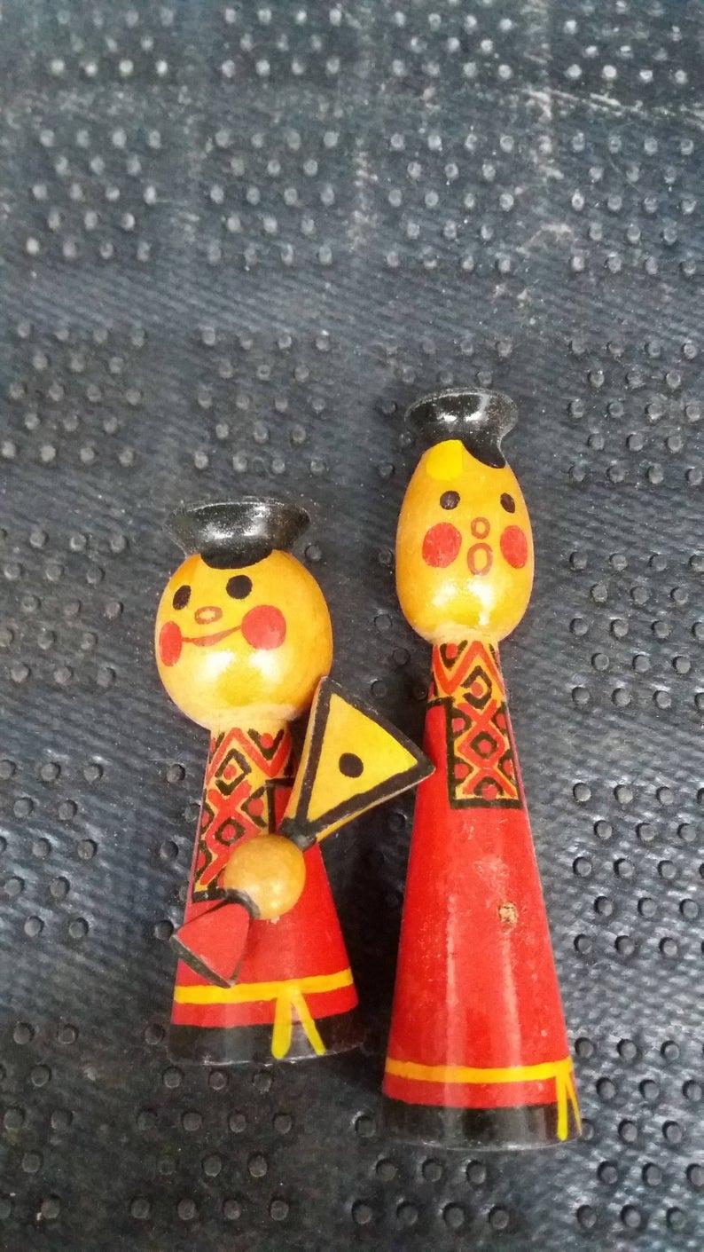 Vintage Bohemian Eastern European Wooden Figures Czech