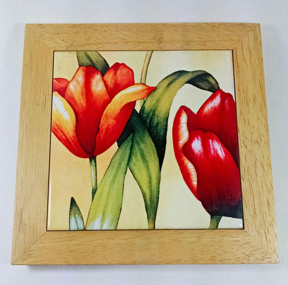 Ceramic tile trivet 8 square wall hanging orange red yellow ceramic tile trivet 8 square wall hanging orange red yellow tulips flowers unmarked dailygadgetfo Images