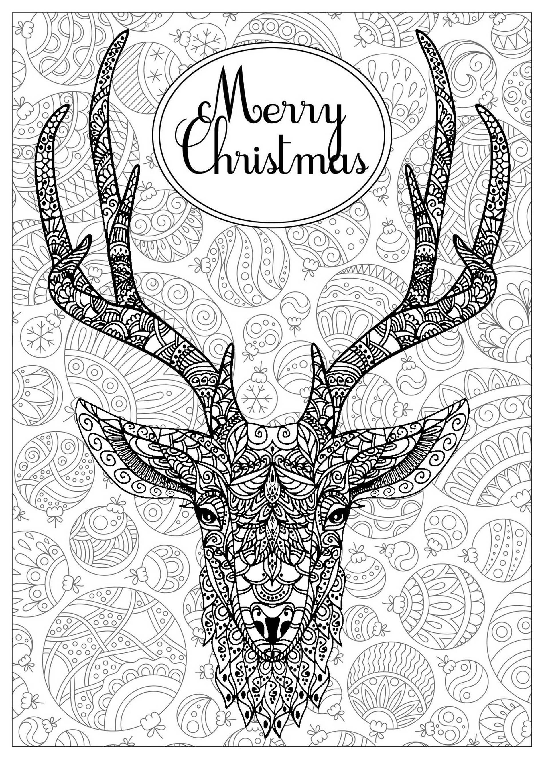 These Christmas Coloring Pages Are Dedicated To Adults Or Kids Very Talented An Merry Christmas Coloring Pages Christmas Coloring Pages Deer Coloring Pages