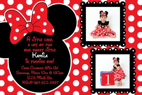 Red And Black Polka Dot Minnie Mouse Invitation OR Thank You Card White Background On Etsy 1000