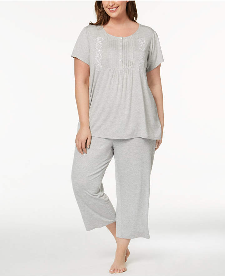 b1e58d4b2db7 Charter Club Plus Size Pleated Knit Pajama Set, Created for Macy's ...