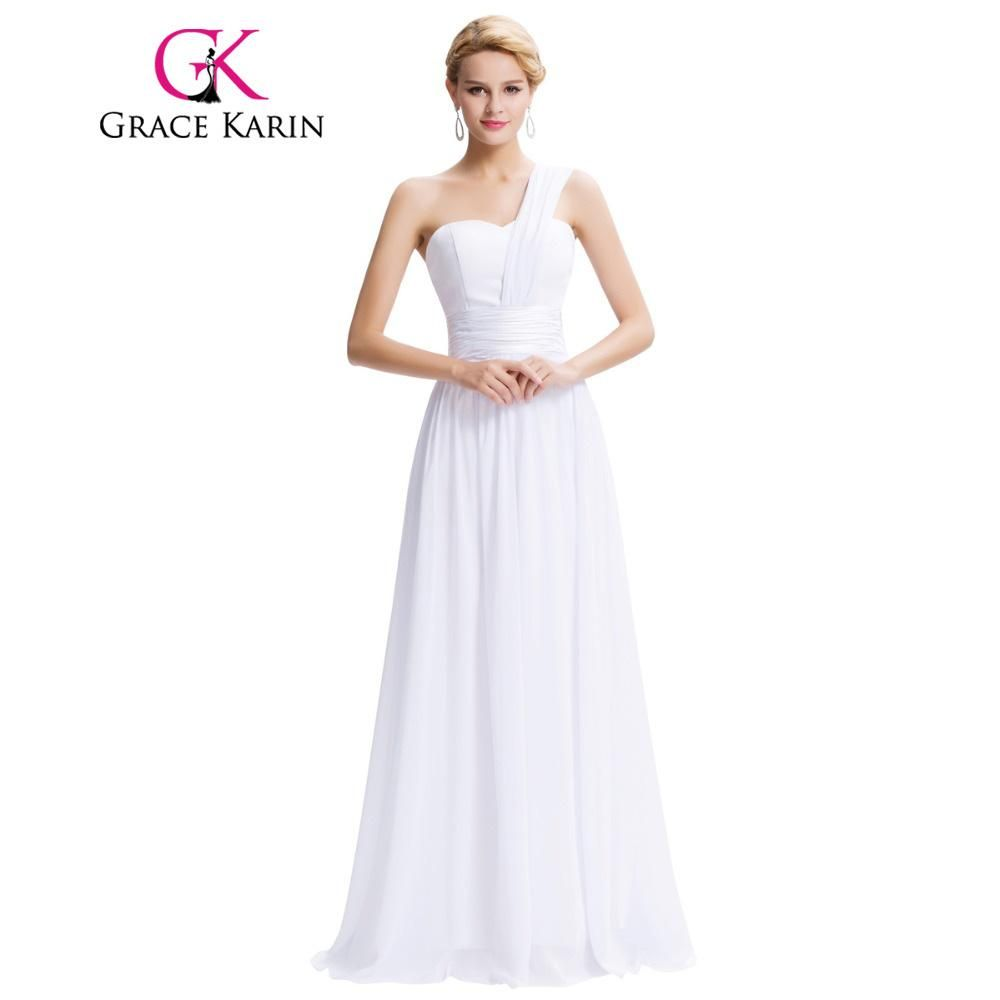 White long evening dresses one shoulder chiffon prom gown formal