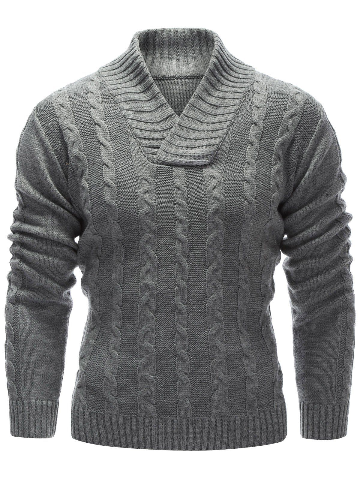 Cardigans & Sweaters | Gray Rib Hem Cable Knit Pullover Sweater ...