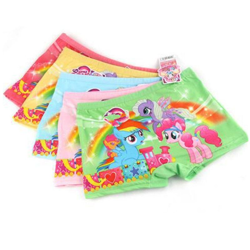 New Girls 3pcs Girl's Cartoon Underwear Kids Milk Silk Manufacturers Selling Pony My Little Boxer Close-fitting Underwear Render