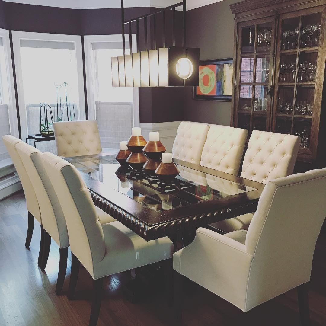 A Mixed Contemporary Dining Room From Beaconsquaredesigns On Instagram Featuring The Ludlow Linear S Modern Dining Room Modern Dining Contemporary Dining Room