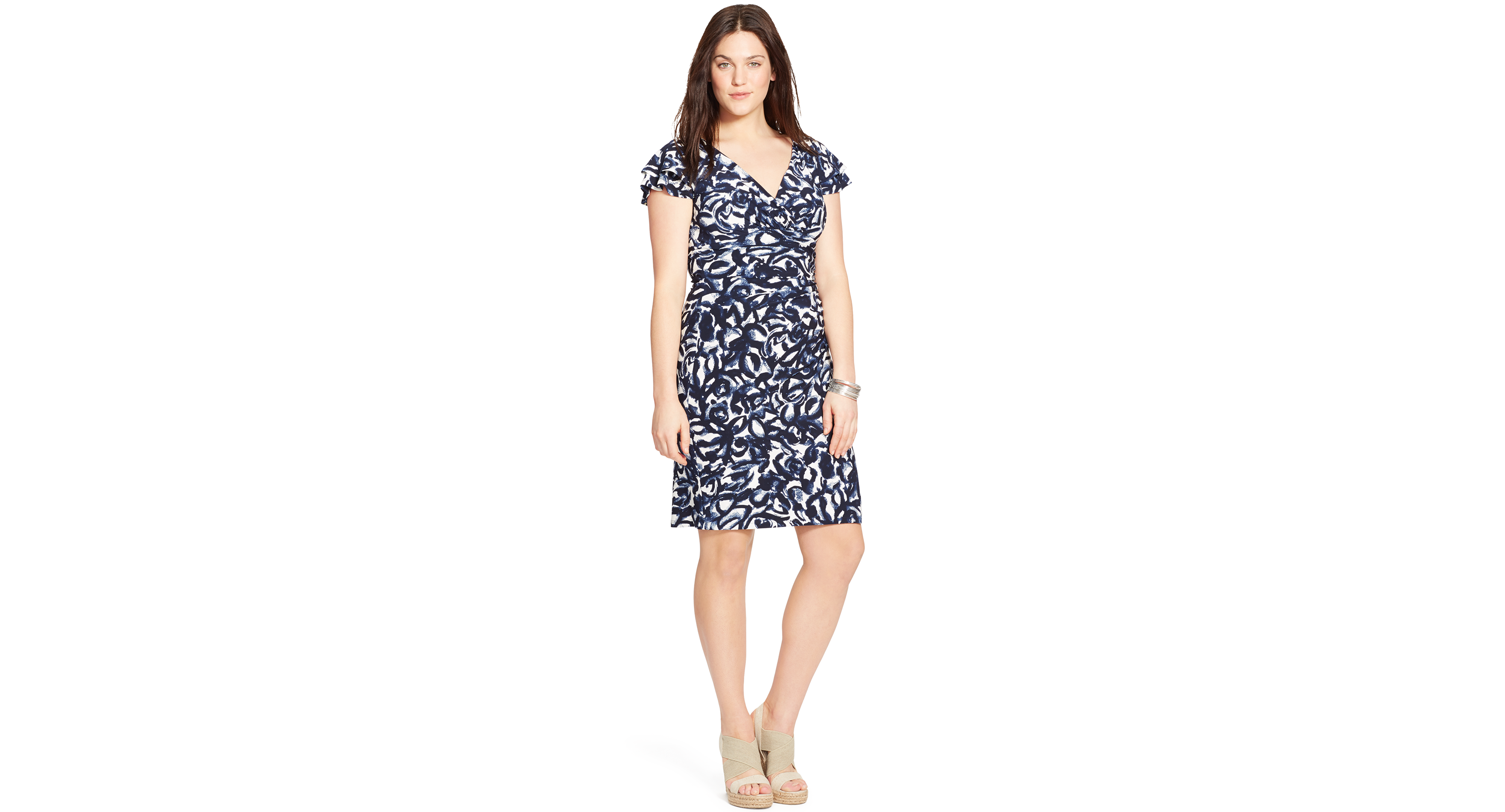 Lauren Ralph Lauren Plus Size Printed Flutter Sleeve Dress