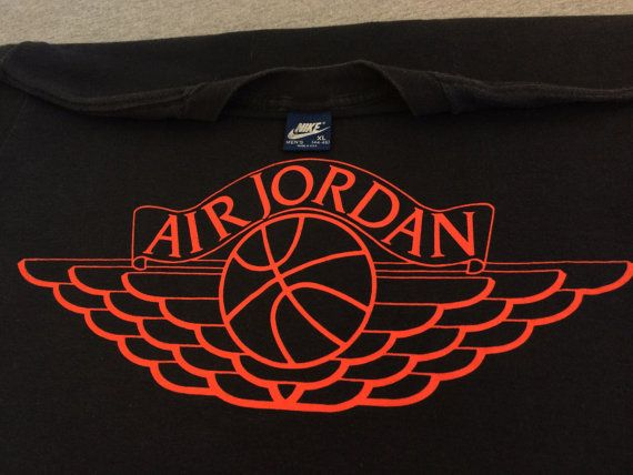 e099a9167216d0 NIKE Air Jordan Shirt 1985 Vintage  ORIGINAL Wings Blue Label Tag ...