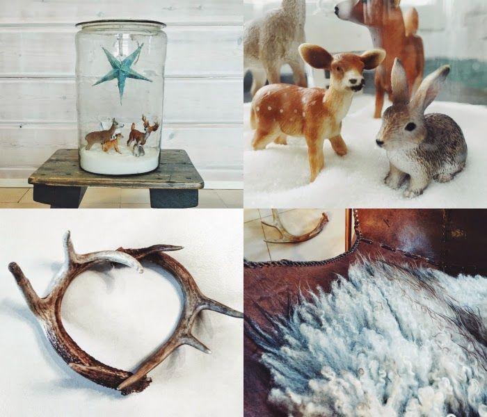 winter decoration, wintry decor, talviasetelma, sheds, sheepskin, animal figures, glass jar, diy christmas decor