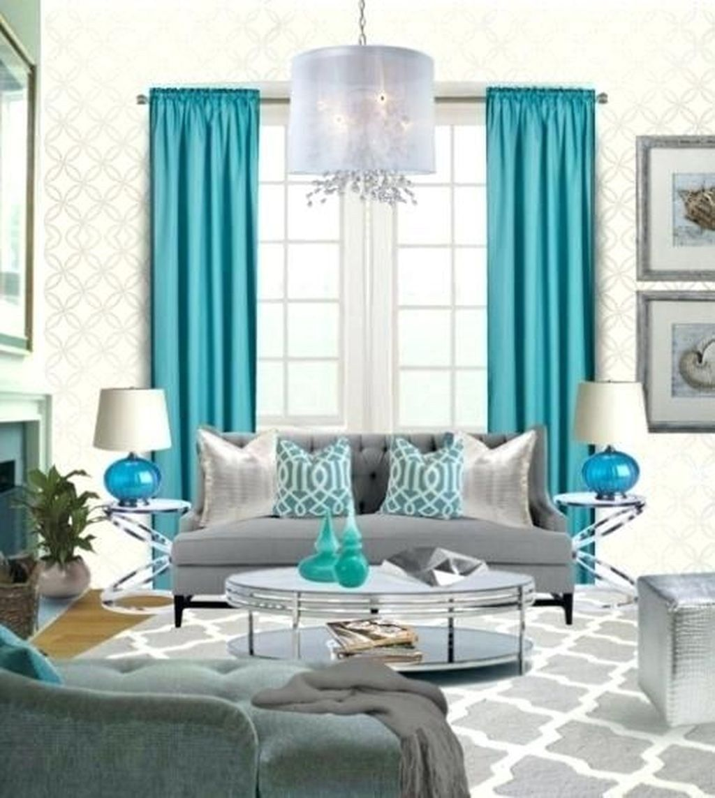 comfy grey and turquoise living room décor ideas 27