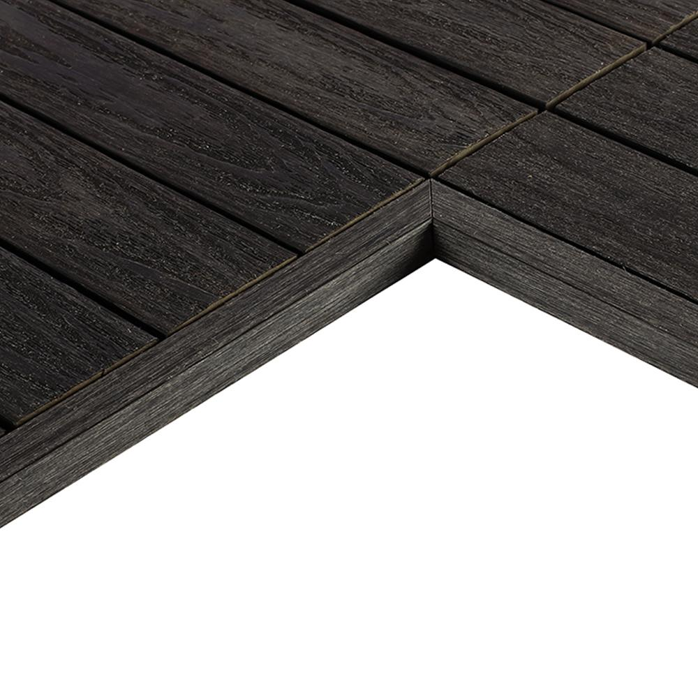 Newtechwood 1 12 Ft X 1 Ft Quick Deck Composite Deck Tile Inside Corner Fascia In Hawiian Charcoal 2 Pieces Box Us Qd It Zx Ch The Home Depot Deck Tile Composite Decking Deck