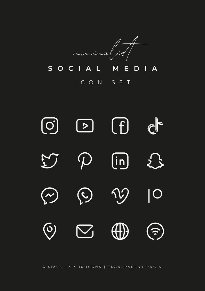 White Social Media Icons Minimalist Social Media Logos Simple Line Icons Instagram Youtube Facebook Tiktok Patreon Etc By Senti Social Media Icons Vector Snapchat Icon Snapchat Logo