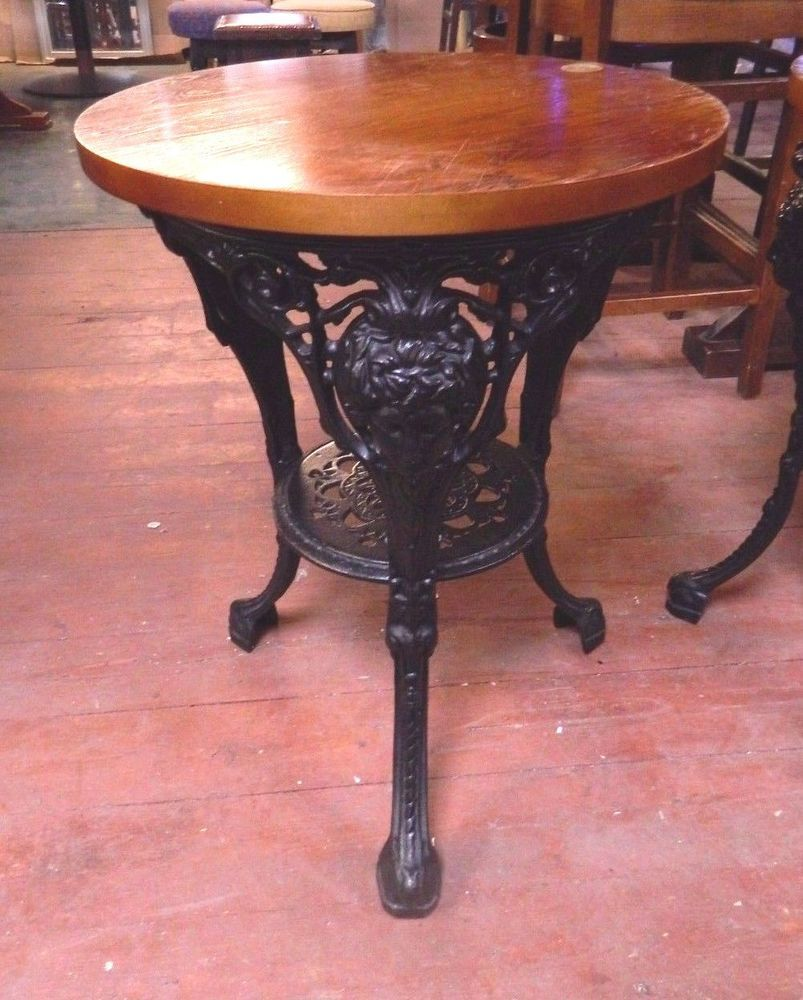 LARGE CAST IRON AND GRANITE PUB TABLE / CAFE / BISTRO / BAR