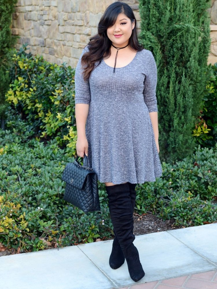 1255470d66f Curvy Girl Chic Plus Size Fashion Blog How to Style Wide Calf Over The Knee  Boots Plus Size Sweater Dress