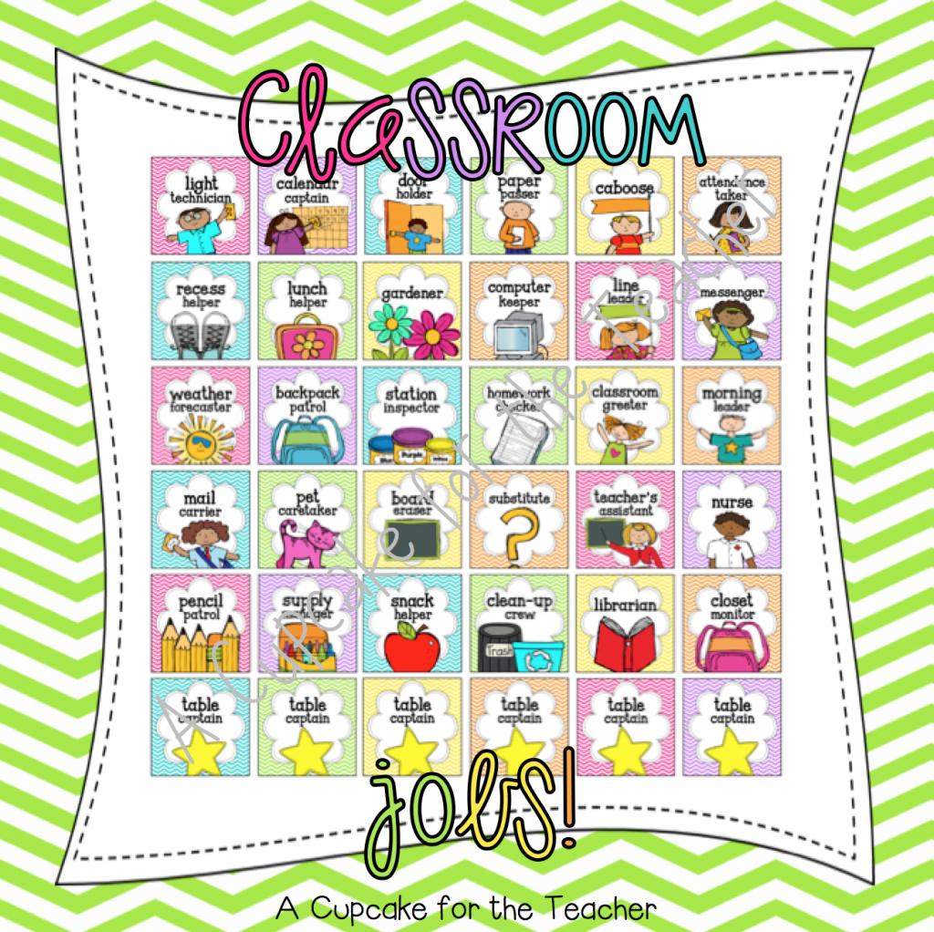 Collaborative Classroom Jobs ~ A cupcake for the teacher jobs in classroom almost