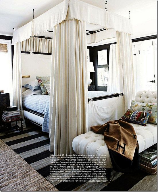 Nice Beautiful Tall Post Canopy Bed; Love The Chaise Lounge At The Foot Of The  Bed