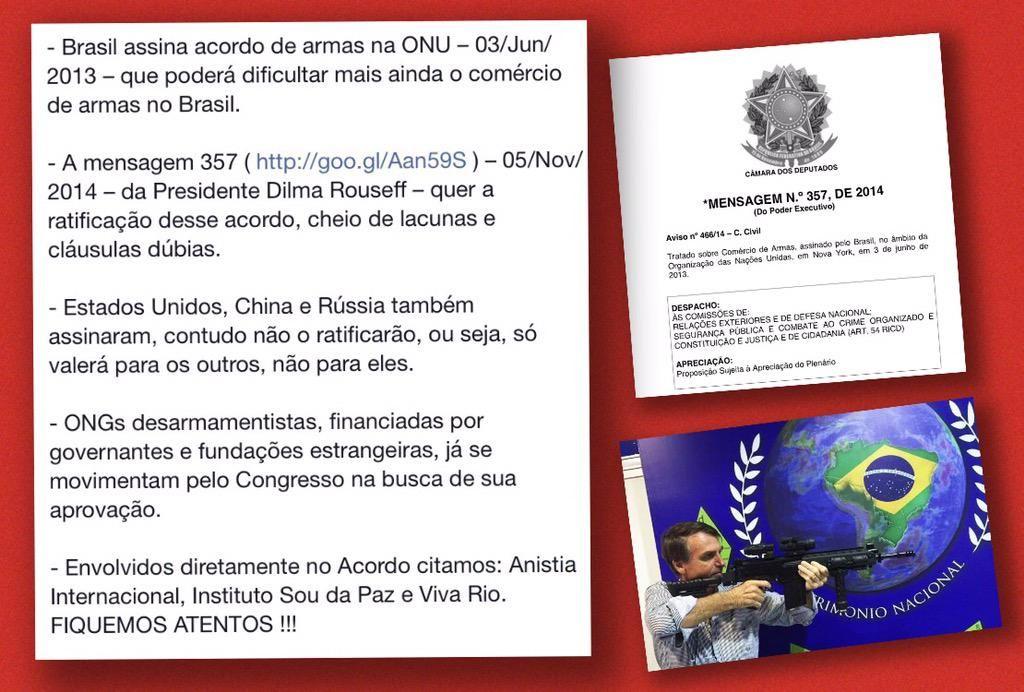 - Presidanta assina acordo ( http://goo.gl/Aan59S ) q poderá dificultar mais ainda o comércio de armas no Brasil.