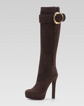 cd7519d37094 Gucci Suede High-Heel Boot