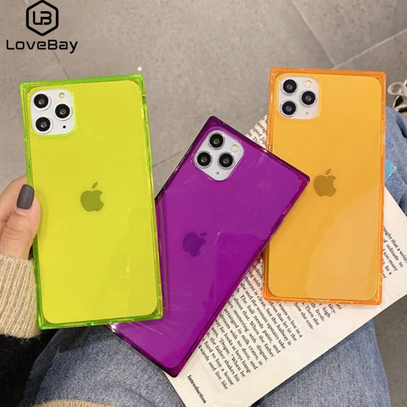 Lovebay Clear Fluorescence Square Phone Case For Iphone 11 Pro Max X Xr Xs 6 6s 7 8 Plus Gorgeous Frame Shockproof Back Cover Iphone Phone Cases Iphone Cases
