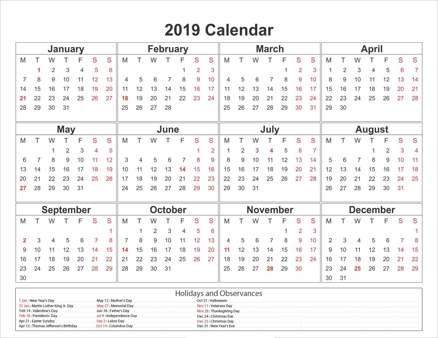 Day Of Year Calendar 2019 2019 Yearly Calendar Printable #2019calendar #Holidayscalendar
