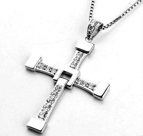 Stunning~Sterling Cross necklace925 bracelet set