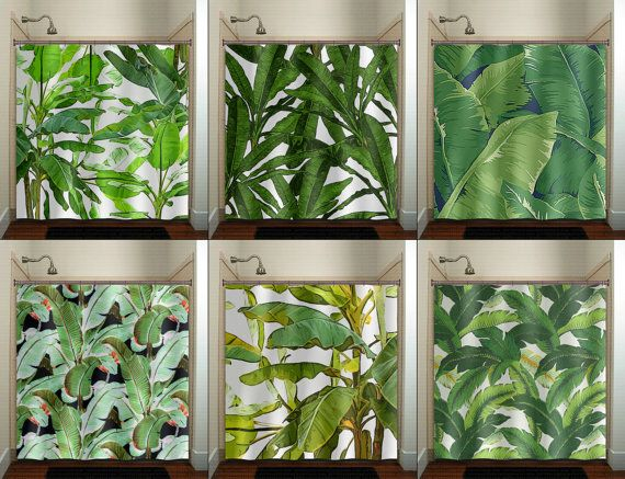 Tropical Jungle Palm Banana Leaf Shower Curtain Extra Long Fabric Shower Curtains Stall Custom Wall Tapestry Window Valance Cafe Panels Banana Leaf Shower